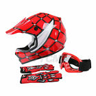 S M L XL Youth DOT Red Spider Net Helmet + Goggles Gloves Dirt Bike Motocross