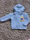 BABY BOYS LOVELY BLUE HOODED CARDIGAN age 0-3  3-6  6-9 MONTHS