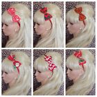 "NEW RED CHRISTMAS FESTIVE PRINT FABRIC ALICE HAIR HEAD BAND 4"" SIDE BOW XMAS"