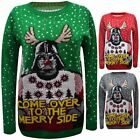 Mens Womens StarWars Come Over Merry Side Novelty Christmas Jumper Sweater