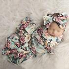 Newborn Baby Floral Print Swaddle Wraps Receiving Blankets with Headband FF