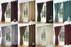 Black Friday Deals - Faux Silk Readymade Pair Curtains Eyelet Ring Top Inc Ties