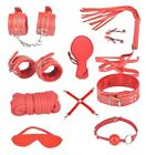 10pcs Kit Bed Bondage Set Collar Whip Hand Ankle Cuffs Kinky Restraint SM Tool
