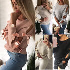 New Women Bow Hollow out Long Sleeve Sweater Pullover Loose Tops Blouse Knitwear