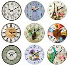 Vintage Country Shabby Chic Kitchen & Living Room Wall Clock in Flowers & Bird