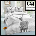 UAREHOME Reindeer Plain Dyed Fitted Sheet And Duvet Sets With Pillow Case