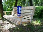 4ft Cypress Deluxe Roll Wood Porch Swing finished w/ cupholders and springs.