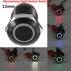 12mm 12V Latching Push Button Black Metal LED Power Momentary Switch Waterproof