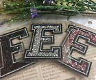 Capital E Alphabet Letter Patch Rhinestones Sequin Embroidered Iron On Applique