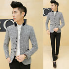 Cool Stand Collar Men Slim Gray Casual Coat Blazers Single Breasted Suits Jacket