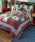 Christmas Holiday Bedding Quilt Collection Reindeer Red & Green Plaid Patchwork