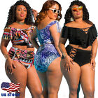 Sexy Women Plus Size Swimwear Bikini Set High Waist Bathing Suit Swimsuit Ruffle