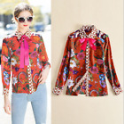 New Occident fashion bowknot Modern Vintage Printed silk hot shirts/blouse SMLXL