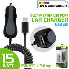 Cell Phone Car Charger TYPE-C High Power 3amp + USB Charge Port Cigarette Plug