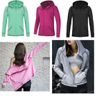 Lady's Plus Size S-3X Athletic Jacket Zip Solid Track Jacket Hoodie GYM Finess