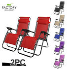 [X2] Zero Gravity Chairs Folding Salon Beach Outdoor Patio Reclinable Steel
