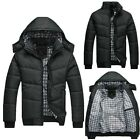 Mens Hoody Jacket Winter Warm Thick Hoodie Hooded Cotton Down Coat Parka Outwear