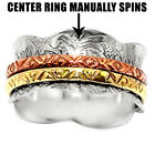 Flowers Pattern Solid 925 Sterling Silver Spinner Ring 2 Tone Spin Wide Band