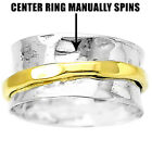 Two Tone Spinner 925 Sterling Silver Ring Jewelry DGR1047