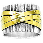 Two Tone 925 Silver Ring Hammered Wide Band Men's Women's Size 5-11 DGR1040