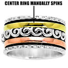 Solid 925 Silver Spinner Ring 3 Tone Thick Wide Band Men's Women's DGR1018