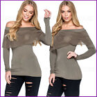 Khaki Ladies Top off shoulder Bardot  Evening Fitted Womens Stretch Size UK 12 ❤
