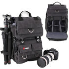 Men's DSLR SLR Camera Padded Backpack Rucksack Waterproof Canvas Travel Bag Pack
