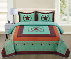 Turquoise Western Texas Cowboy Star Quilt Bedspread Comforter Shams 3 Pc Set!!!! image