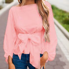 US Women Ladies Long Sleeve Bowknot Waist Tie T Shirt Fashion Casual Blouse Tops