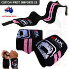 Weight Lifting Wraps Gym Fitness Wrist Support Cotton Bandage Straps Black/Pink