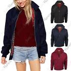 New Womens Bomber Zip Up Classic Retro 1970's Vintage Coat Harrington Jacket Top