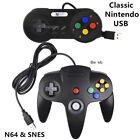 Black Nintendo 64 N64 & SNES Classic Wired USB Controller Gamepad for PC Mac US