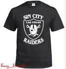 LAS VEGAS RAIDERS T SHIRT BLACK W/T WHITE VINYL LOGO FREE SHIPPING