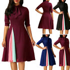 Women Vintage Style A Line Swing Evening Party Business Rockabilly Bowknot Dress