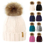 Внешний вид - 2018 Mom&Newborn Baby Boy Girl Winter Warm Fur Pom Bobble Knit Beanie Hat Caps