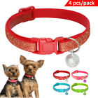 Bling Sequins Dog Cat Collars with Bell for Kitten Kitty Pet Puppy Adjustable