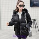 Europe Women's Faux Fur Big Collar Hooded Short Down Fashion Cotton Jacket Girls