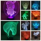 Acrylic, Perspex 3D Children's Night Light 7 Colours Table Lamp LED