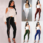 Womens Pencil Pants High Waist Skinny Stretch Leggings Bandage Lace Up Trousers