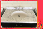 French Bathroom Vanity Top Carrara Marble Benchop W900, W1200, W1500, W1800