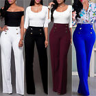 Women's Palazzo Flared Wide Leg Pants High Waist OL Ladies C