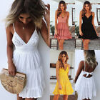 Boho Womens Straps Lace V Neck Backless Holiday Pleated Ladies Beach Party Dress