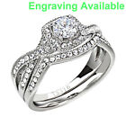 Stainless Steel Clear Round Cubic Zirconia Jewelry Women Wedding Ring Sets