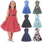 Kids Girl Floral Retro Vintage 50s Lapel Swing Party Printed