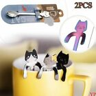 1/2pcs Hanging Coffee Spoons Cute Cat Spoon Stainless Steel Long Handle
