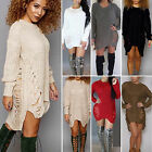 Womens Oversize Long Sleeve Knitted Sweater Baggy Jumper Mni Dress Long Tops
