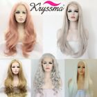 Best Synthetic Lace Front Wigs Pink Gray Blonde White Long Wavy Synthetic Wigs