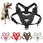 Spiked Studded Dog Harness PU Leather for Medium Large Dogs Pitbull Boxer Black