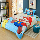 Super Mario Bros Cotton Duvet Cover Flat Sheet Kids Bedding Set Twin Full Size