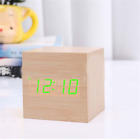 LED Desk Voice Alarm Clock Modern Cube Wooden Wood Digital Control Thermometer